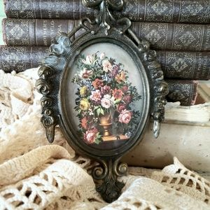 Small Italian Metal Framed Floral Print